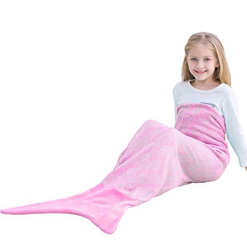 Manta de Cola de Sirena Mejores Regalos - Personalizado Mujer Señoras Niña Novia Hecho a Mano de Punto Manta Sofá Cálida Para Regalo de Cumpleaños y Navidad (Niño 145cm x 60cm, V6-Brillante / Rosa)