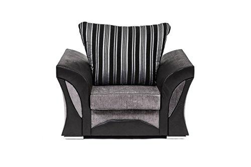 FARROW Chenille Fabric Corner Sofa, 2+3 Seater, Swivel Chair in Black & Grey (Armchair)