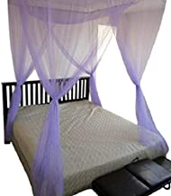 OctoRose 4 Poster Bed Canopy Netting Functional Mosquito Net Full Queen King (Purple)