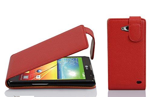 Cadorabo Hülle für LG L90 - Hülle in Inferno ROT – Handyhülle aus Strukturiertem Kunstleder im Flip Design - Case Cover Schutzhülle Etui Tasche
