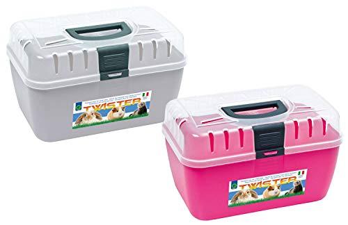 PETGARD 2er Sparpack Transportbox Twister für Kleintiere Nager Reptilien 29 x 19 x 18 cm hellgrau + rosa