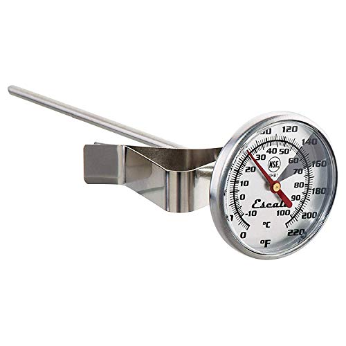 Escali AHB1 NSF Certified Home/Commercial Instant Read Large Dial Beverage/Coffee/Tea/Liquid Thermometer W/Clip, Silver