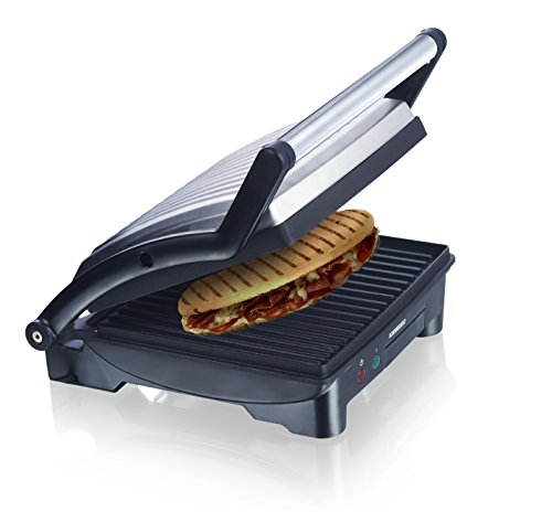 MELISSA 3in1 Panini Maker, Kontakt-Grill, Sandwich Toaster Edelstahl Tischgrill mit Antihaftbeschichtung 1500 Watt