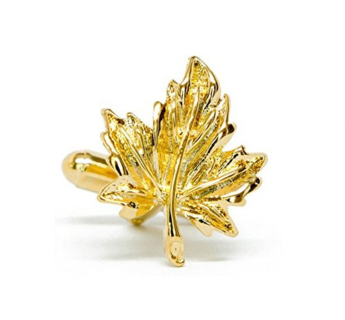 Utoy Golden Maple Leaf Cufflinks for The Maple City Acer Leaf Leaves Cuff in America's Maple Leaf City