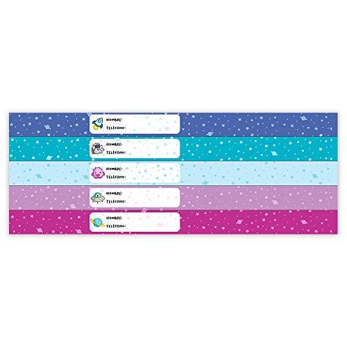 Pulsera Identificativa Para Niños Personalizable. Resistente al Agua. 5 Unidades. Modelo: Galaxia