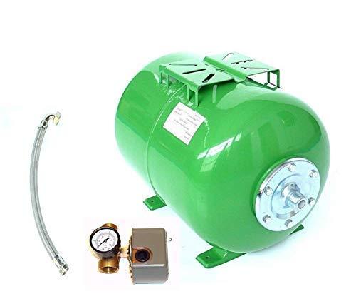 Druckkessel 50 Liter + Zubehör, Größe H 38 cm L 55 cm D 34 cm. Ausdehnungsgefäß Membrankessel Hauswasserwerk. Max. Druck 8 Bar m. EPDM Membran.