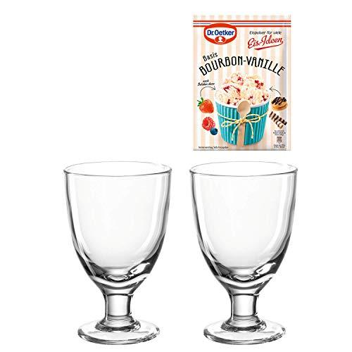 LEONARDO - GK - Cucina - 2 Eisbecher inkl. EIS-Idee - Glas - Klar - (HxBxT) 17 x 23,5 x 12 cm - D: 10