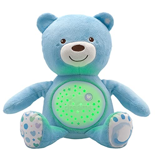 Chicco Baby Bear Oso Primeros Sueños de Peluche, Osito Proyector de Luces con Efectos Luminosos, Melodías Relajantes y Luz de Noche – Peluche para Bebés Recién Nacidos, Color Azul