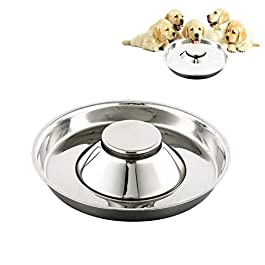 SUOXU Puppy Slow Feed Bowl, Stainless Steel Metal Dog Bowls,Can be Used for Multiple Puppies to Eat Water Bowl and Dog Food Bowl at The Same Time