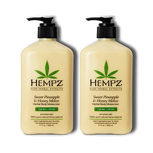 Hempz Sweet Pineapple & Honey Melon Moisturizing Skin Lotion, Natural Hemp Seed Herbal Body Moisturizer with Jojoba, Natural Extracts, Vitamin A and E, 17 oz, 2 Pack Bundle