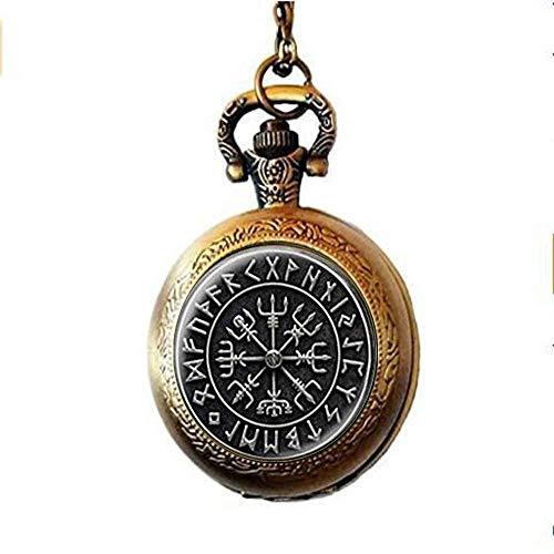 N / A Personalisierte Gravur Taschenuhr, Viking-Kreuz in Rune Kreis-Taschen-Uhr Schmuck, Glas Cabochon Halskette, Schmuck Dome