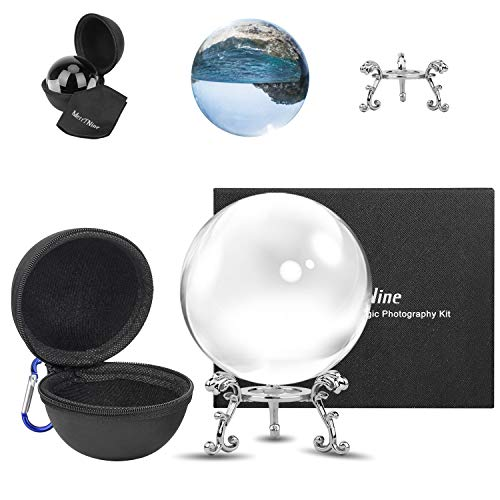 MerryNine Crystal Ball with Crystal Ball Case Bag Set, K9 Crystal Photography Ball, Including Microfiber Pouch and Crystal Ball Manual, Perfect Photography Accessories (80mm/3.15')