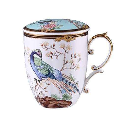 YIFEI2013-SHOP Tazas Un Cientos pájaros Bendición China Bone China Taza de cerámica de Gran Capacidad Tapa casera de la Taza de café de la Copa Nacional de Luz Marea de Lujo Tazas de Café