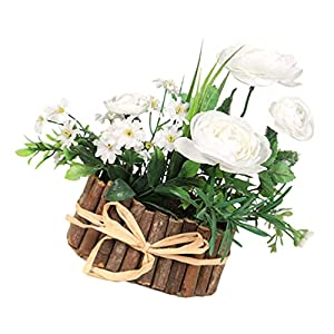 Silk Flower Arrangements BESTOYARD Artificial Camellia Flower in Vase Silk White Flower Arrangements Mini Potted Fake Flowers Faux Flowers Bouquets for Office Home Wedding Decor