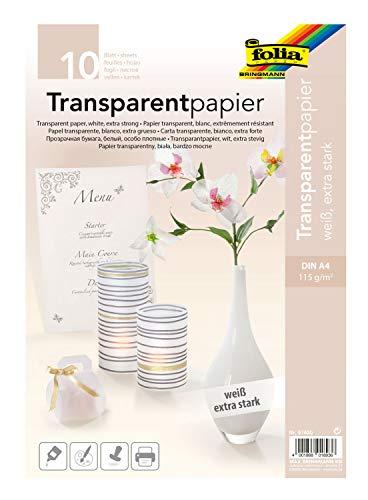 folia 87400 - Transparentpapier, DIN A4, 10 Blatt, weiß - vielseitig einsetzbar