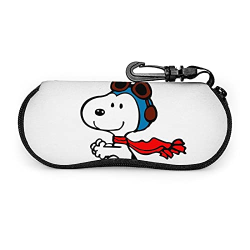 Snoopy - Funda de neopreno portátil ultraligera con cremallera para gafas de sol con mosquetón para hombres y mujeres