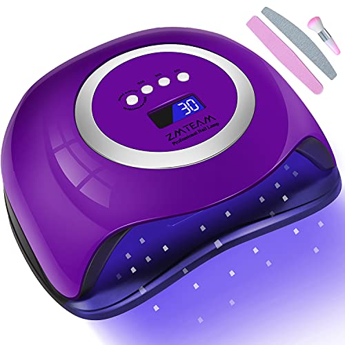 UV Led Nail Lamp,ZMteam 168W Fast Portable Gel Nail Polish Dryer,UV Led Nail Light with 4 Timers Setting Auto Sensor LCD Display, Professional Gel Manicure Kit Curing Lamps for Salon and Home(Purple)