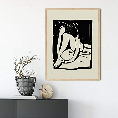 IGNIUBI Abstract Painting on Canvas Prints Woman Painting Minimal Art Print Black White Modern Minimalist Poster Home Wall Decor 50X70cm 20x28 inch No Frame