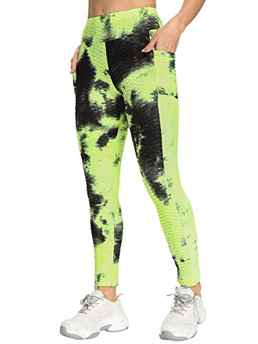 ChouZZ Pantalones de yoga con estampado anudado para mujer, pantalones largos de cintura alta con bolsillos laterales para ropa deportiva