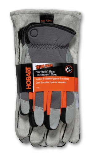 Hobart 770408 2-Economy and 1-Mechanics Gloves, 3-Pack