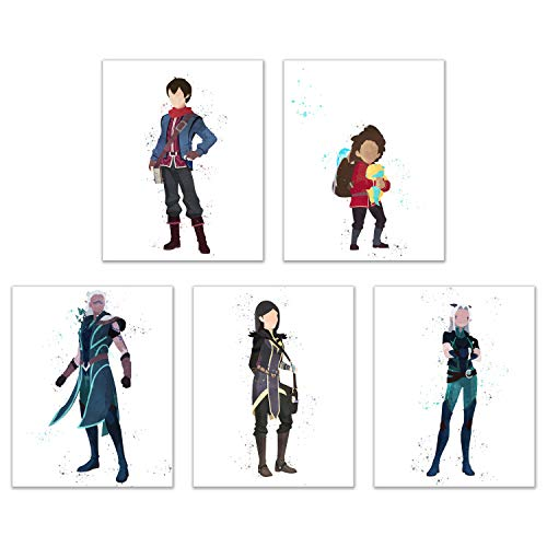 Watercolor The Dragon Prince Poster Prints - Set of 5 (8x10) Glossy Netflix Xadia Wall Art Decor - Callum - Claudia - Rayla - Runaan - Ezran