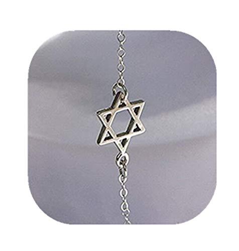 Pulsera con estrella de David judía en miniatura, plata de ley
