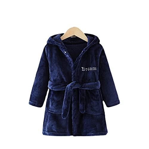 Borlai Albornoz de franela para niñas y niños, con capucha, forro polar, suave, cálido, para invierno, interior y hogar, azul marino, 5-6 Años