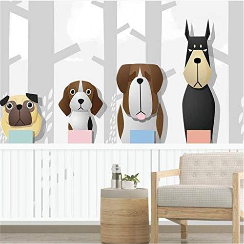 Muurschildering achtergrond 3D aangepaste fotobehang Cartoon boom woud wandafbeeldingen kinderkamer woods honden slaapkamer behang voor woonkamer wooncultuur, aFcvs45