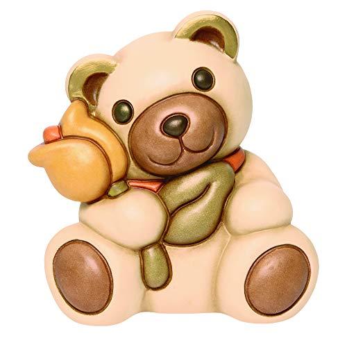 THUN® - Orso Teddy Oliver Medio con Tulipano Giallo - Animali Soprammobili da Collezione - Ceramica - I Classici