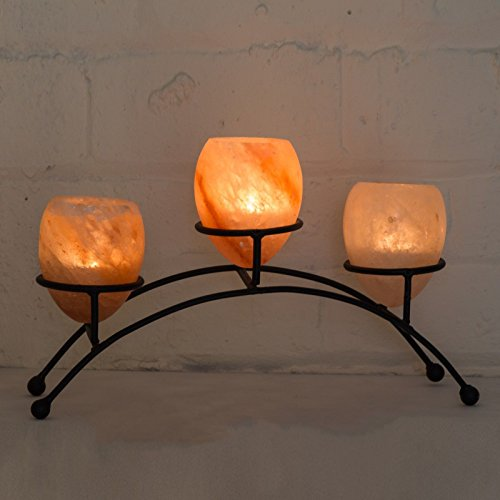 Klass Home Collection Himalayan Natural Rock Salt Three Egg-shape Crafted Wrought Iron...