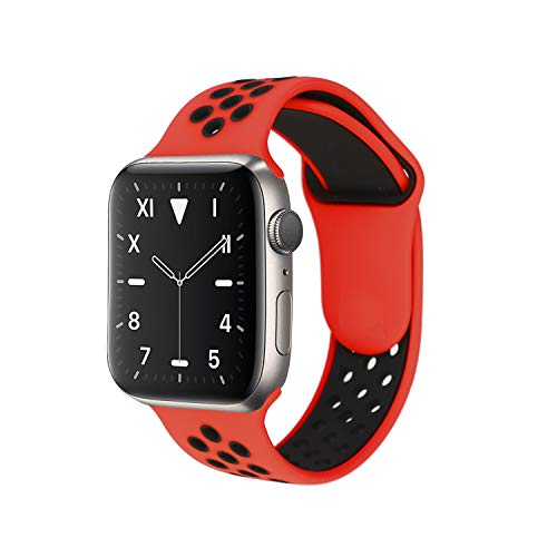 Correa Compatible con Apple Watch Correa 38mm 40mm, 42mm 44mm, Reemplazo de Silicona Suave Correa Deportiva Agujeros Respirables Compatible para Series 5 4 3 2 1. (42/44 M-L, Rojo/Negro)
