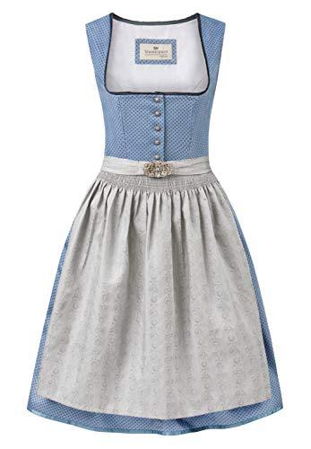 Stockerpoint Damen Dirndl INES Kleid für besondere Anlässe, blau-grau, 38