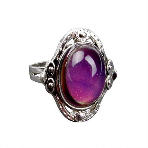 LJSLYJ Vintage Farbwechsel Stimmung Ring Oval Emotion Gefühl austauschbare Ring Temperaturkontrolle Farbe Ringe für Frauen