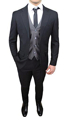 Abito Completo Uomo Sartoriale Nero Grigio Elegante con Gilet e Cravatta in Coordinato (50)