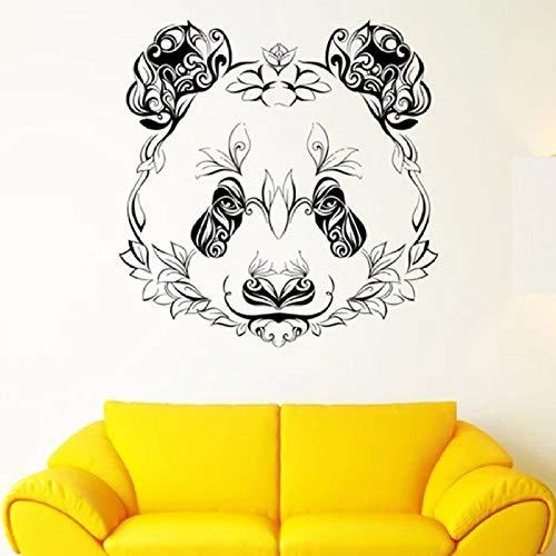 JXWH Panda Muursticker, dierenhoofd, bloemblaadjes, plant, bloemenkunst, vinyl, raam, applicatie, slaapkamer, woonkamer, kunst, studio, kinderkamer, decoratie 57 x 58 cm