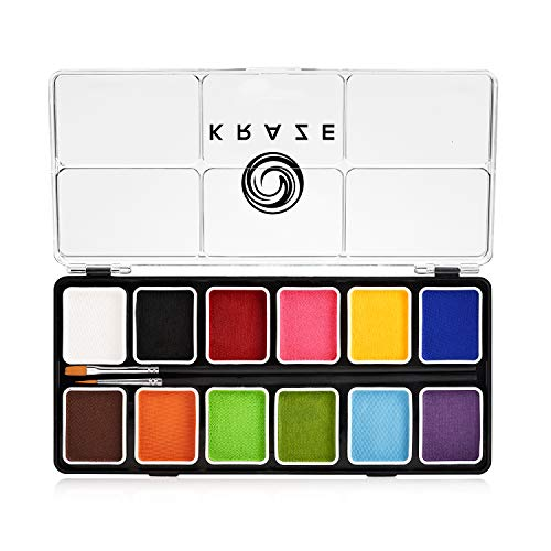 Kraze FX Fundamentals Professional 12 Color Face Paint Palette (6 gm) with 2 Brushes - Water Activated, Hypoallergenic, Safe, Non-Toxic Face Painting Kit for Sensitive Skin, Kids & Adults
