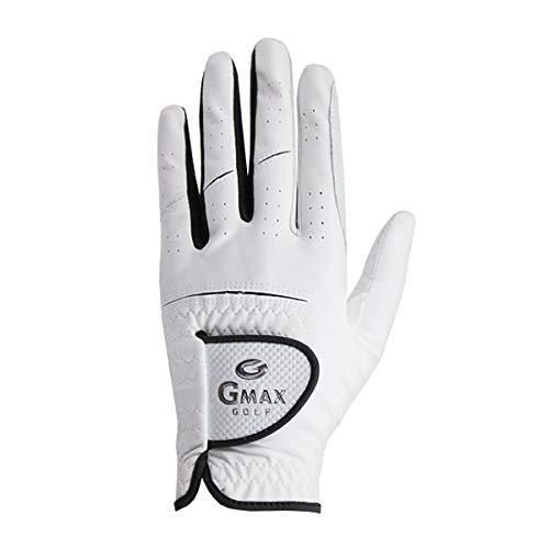 Gmax Golf Handschuh für Damen und Herren aus echtem Cabretta Leder, für Rechtshänder, Linke Hand, weiß in verschiedenen Größen S-XL
