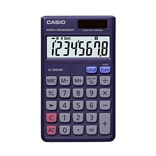 CASIO SL-300VER Taschenrechner Solar/Batterie 8-stellig mit Euro-Umrechnungsfunktion