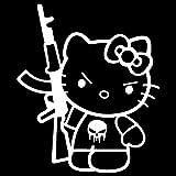 hello kitty gun car decal - Hello Kitty AK-47 Punisher Machine Gun Vinyl Decal Sticker (HK-17) (White, 10 inches x 8.4 inches)