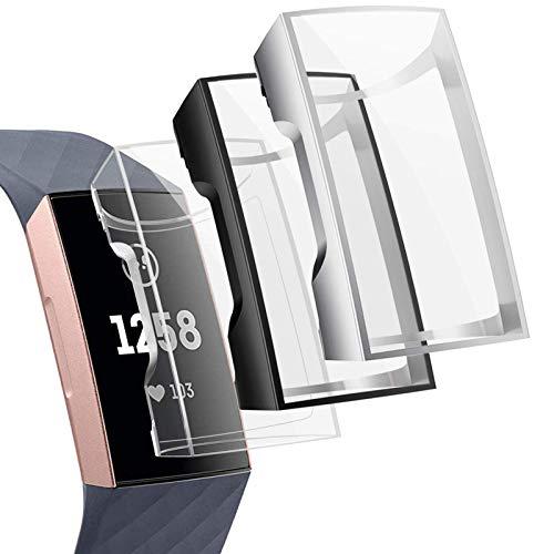 CAVN Schutzhülle Kompatibel mit Fitbit Charge 3 /Charge 4 Schutzfolie Hülle (3-Stück), Flexibles TPU Superdünner Vollschutz Gehäuse Bumper Stoßfestes Bildschirmschutz Schutz Hülle für Charge 3/Charge 4