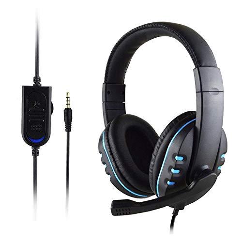 Fengzong Casque Gaming Stéréo Surround Casque 3,5 mm Câble Microphone pour PS4 Ordinateur Portable pour Xbox One Gamer Casque (Noir Bleu)