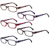 5-Pack Reading Glasses Blue Light Blocking Anti Eyestrain Computer Reading Glasses for Women and Men Readers (5 Pairs Mix Color, 2.00)