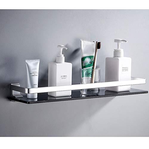Pared Cesta de ducha Los estantes de baño negro de cristal templado con estante de aluminio del carril del espacio de montaje en pared de vidrio templado rectangulares accesorios de baño YueB I-16
