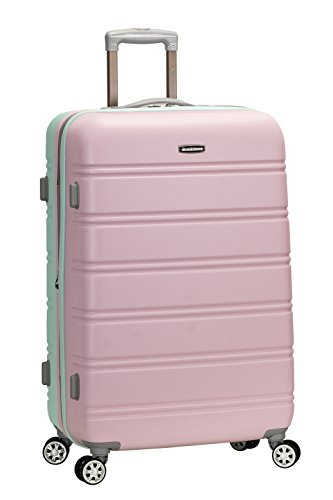 Rockland Melbourne Hardside Expandable Spinner Wheel Luggage, Bright Green, Checked-Large 28-Inch