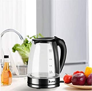 KOUYE- Electric Glass Kettle 1500W/1.8L Glass Water Boiler & Tea Heater with Blue LED Indicator Light,Auto Shut-Off (1.8L)