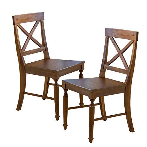Christopher Knight Home Rovie Acacia Wood Dining Chairs, 2-Pcs Set, Dark Oak