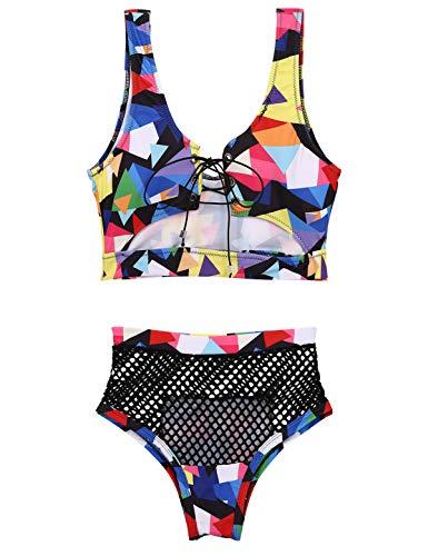 winying Damen Bikini High Waist Druck Bademode Crop Top Oberteil zum Schnüren Bikinihose Netz Slip Strandmode Schwarz S