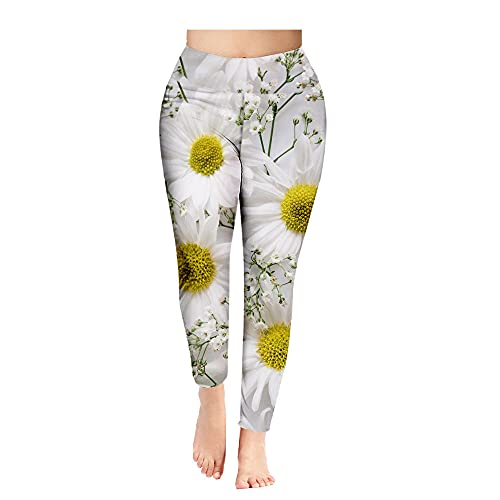 ArcherWlh Yoga Pantalones,Pantalones de Yoga Impresión de Flores Nueve Pantalones Damas Leggings Secado rápido Fitness Deportes Pantalones de Yoga-2 Estilo_XXL