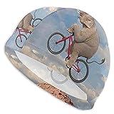 Tcerlcir Gorro Natación Bicicleta de Montar en Elefante de montaña Gorro de Piscina para Hombre y Mujer Hecho de Silicona Ideal para Pelo Largo y Corto