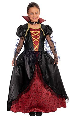 Magicoo Königin Vampir Kostüm Kinder Mädchen mit Kragen - schickes Halloween Vampirkostüm Kind (110/116)